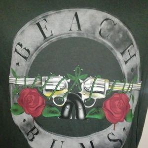 Beach Bums Guns & Roses T-Shirt Sz M Black